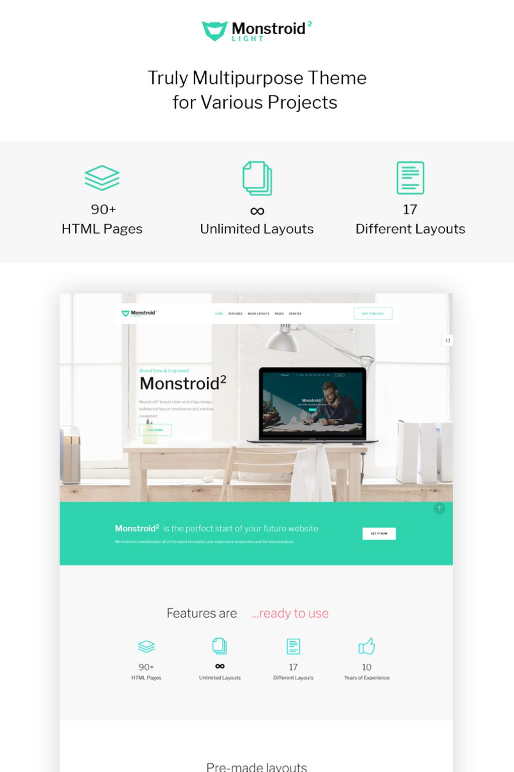Monstroid2 Light - Multipurpose Website Template
