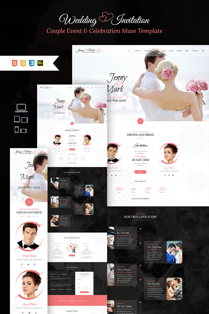 "Muse Template namens ""Wedding Invitation - Couple Event & Celebration"" #66019"