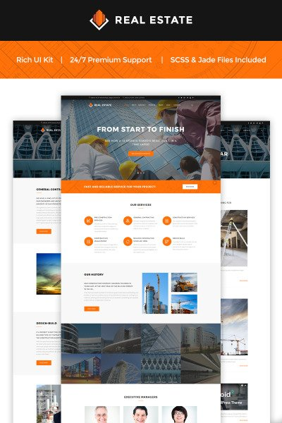 Real Estate - Construction Company Website Template #66064