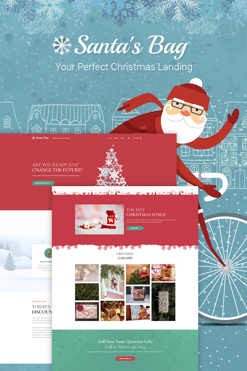Responsywny motyw WordPress Santa's Bag - Christmas Landing #66026
