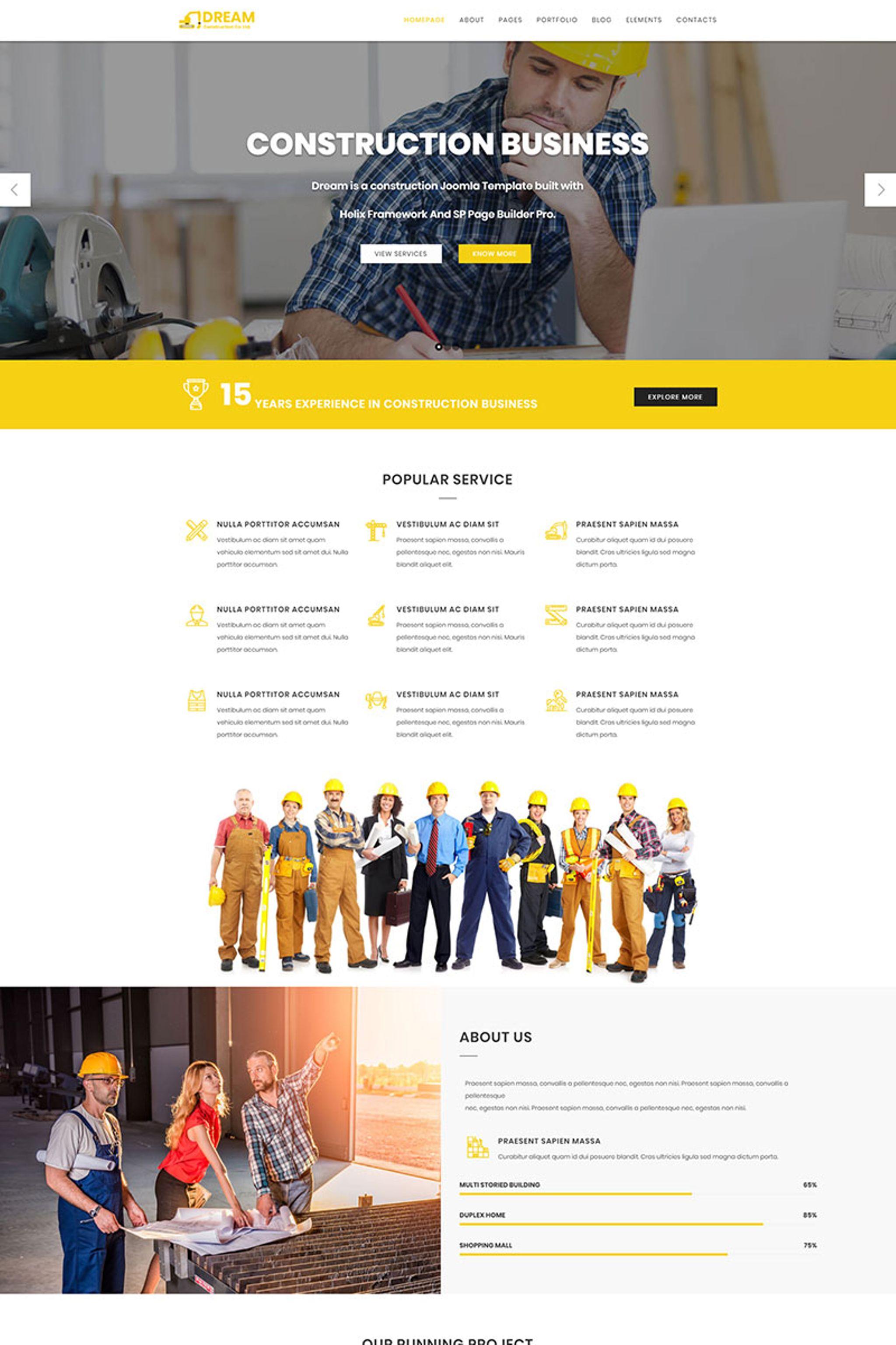 Responsywny szablon Joomla Dream - Construction #66014 - zrzut ekranu