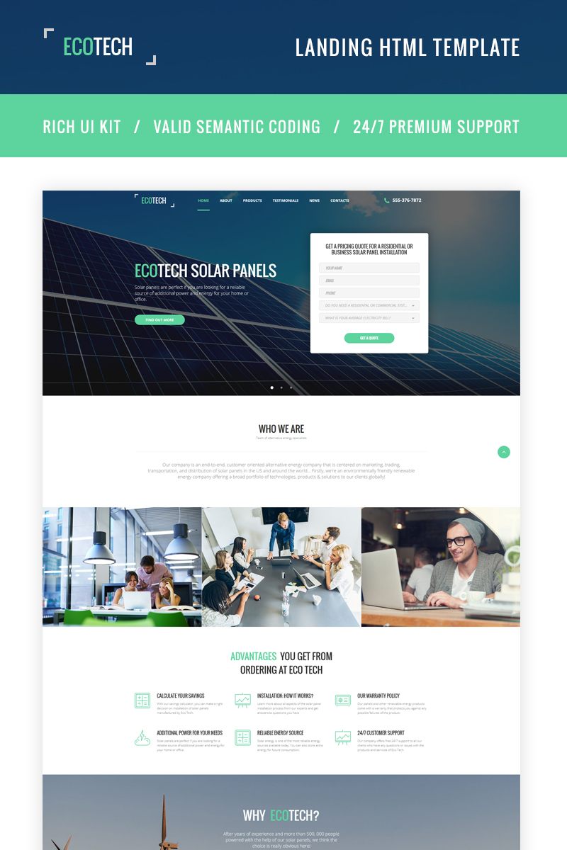 "Responzivní Šablona mikrostránek ""Ecotech - Solar Energy HTML5"" #66063"