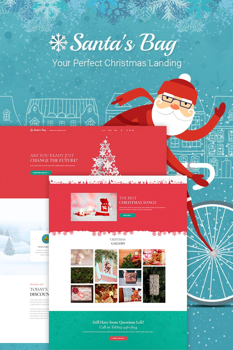 "Responzivní WordPress motiv ""Santa's Bag - Christmas Landing"" #66026"