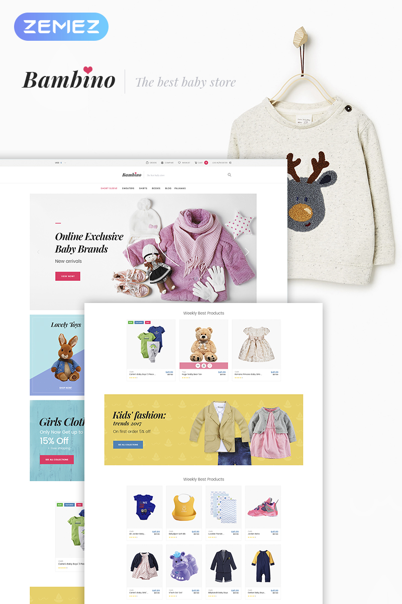 Reszponzív Bambino - Baby Store Responsive WooCommerce sablon 66024