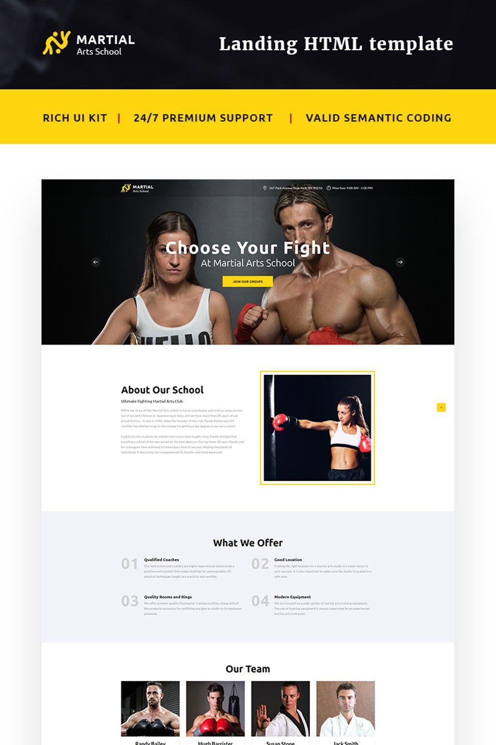Reszponzív Martial Arts School Nyítóoldal sablon 66015