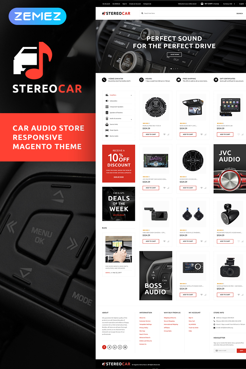 """""""StereoCar - Car Audio Store"""" thème Magento adaptatif #66051"""
