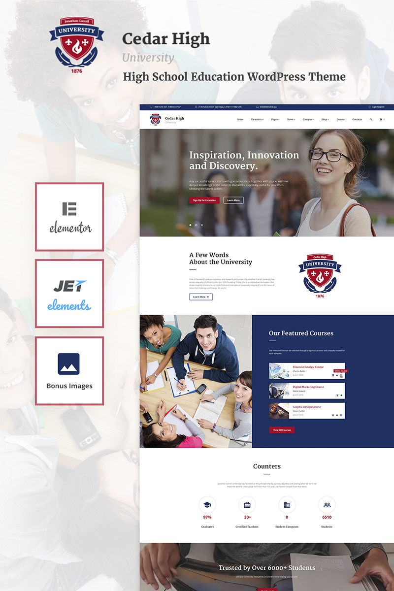 "Tema De WordPress ""Cedar High - University"" #66035 - captura de pantalla"