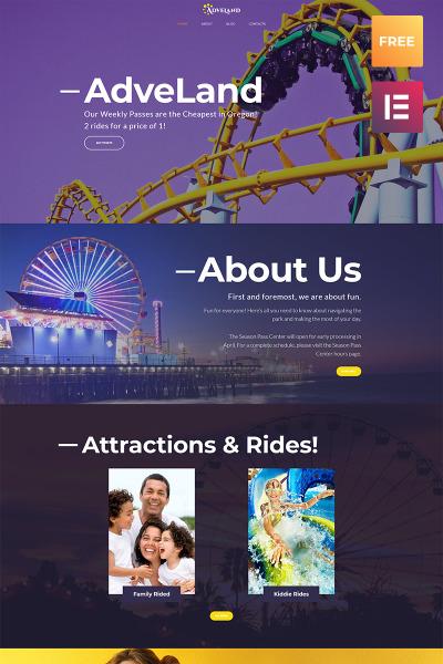 Responsive Tema De WordPress #66076 para Sitio de  para Sitio de Parques de atracciones