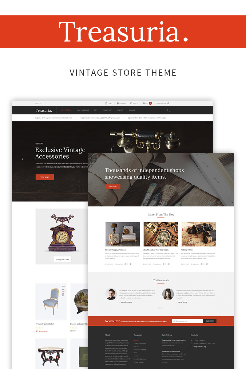Treasuria - Antique & Vintage WooCommerce Theme - screenshot