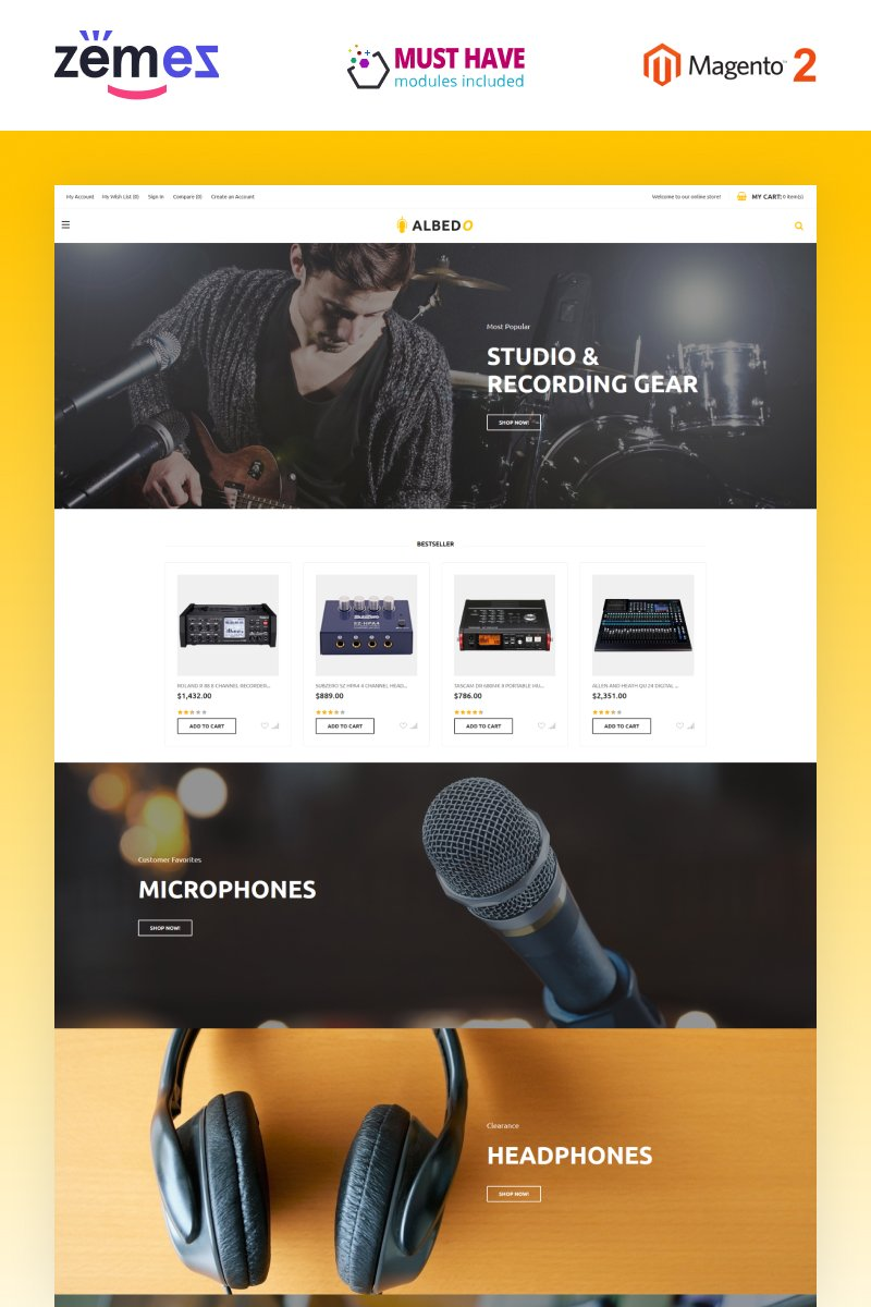 Albedo - Audio Store Magento Template Magento Theme - screenshot