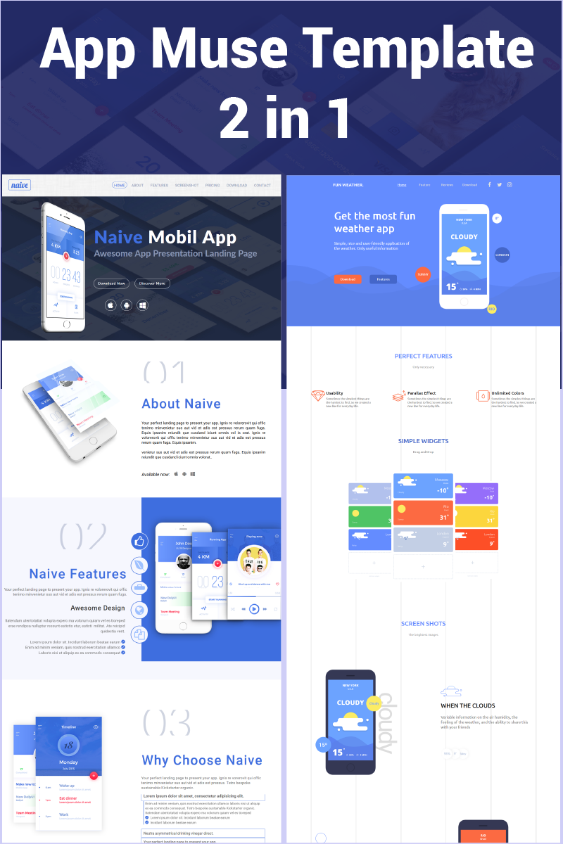 App 2 in 1 Muse Template