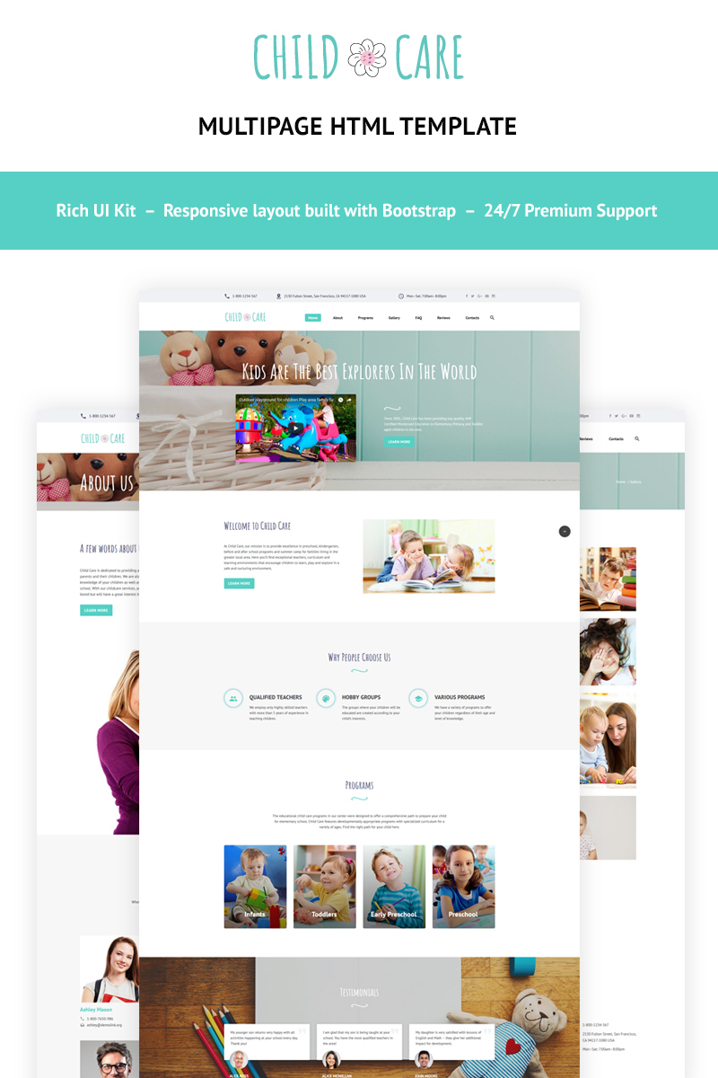 """Child Care - Day Care"" Responsive Website template №66121"
