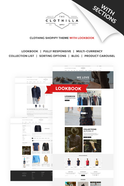 Clothilla - Clothing Store Shopify Theme #66149