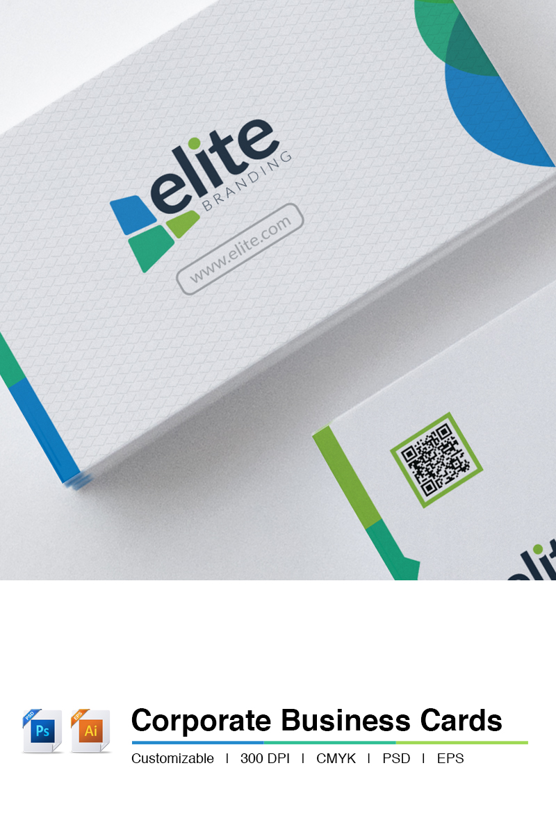 Corporate Clean - Business Card Template Photoshop №66138