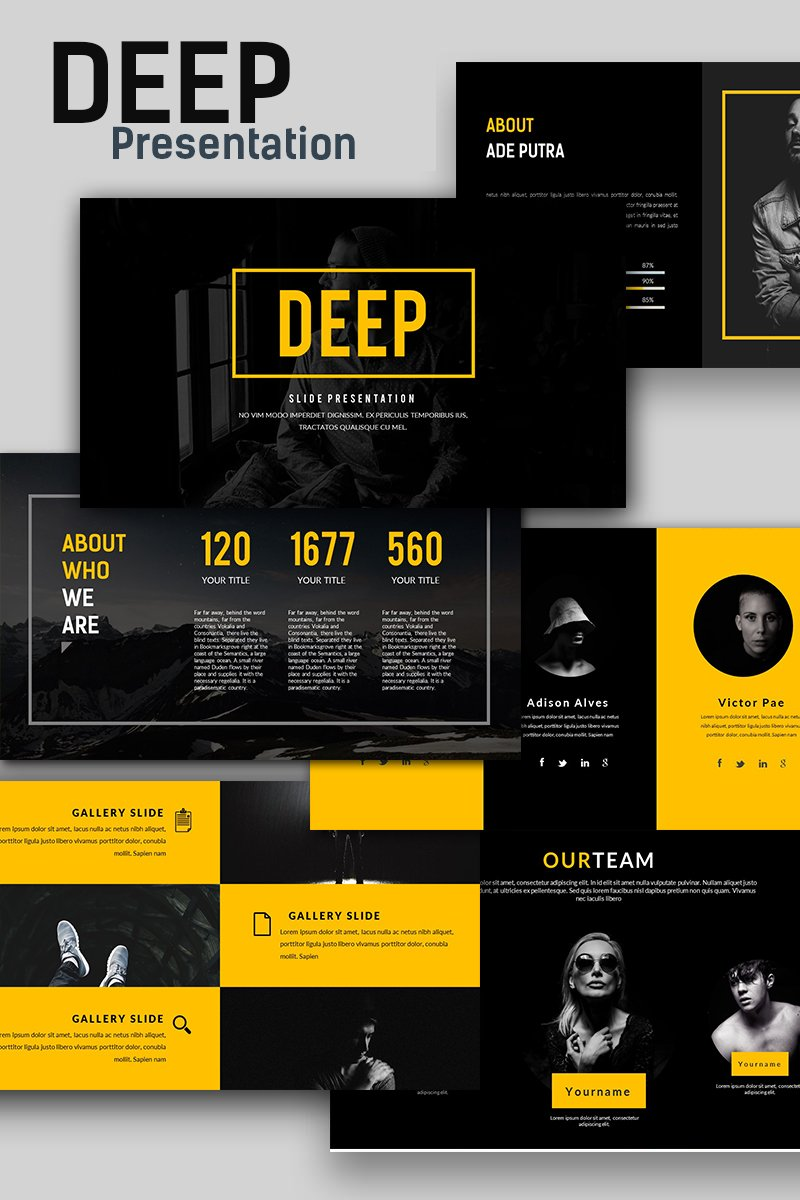 """Deep Creative - Presentation"" PowerPoint Template №66135"