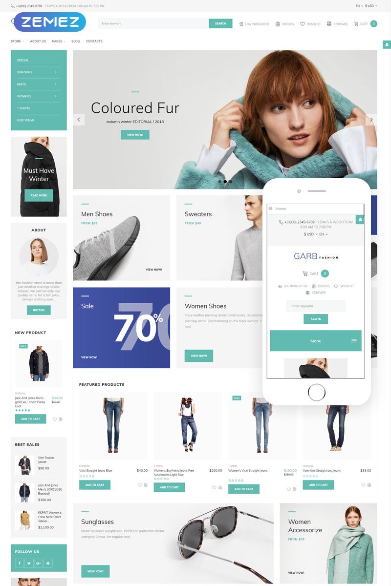 """Garb Fashion - Fashion Store"" - адаптивний Joomla шаблон №66165"
