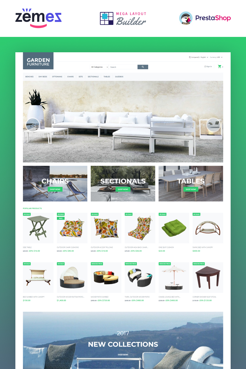 """Garden Furniture"" - адаптивний PrestaShop шаблон №66113"