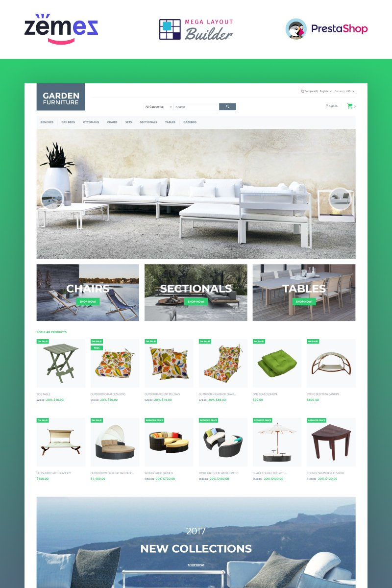 """Garden Furniture"" Responsive PrestaShop Thema №66113"