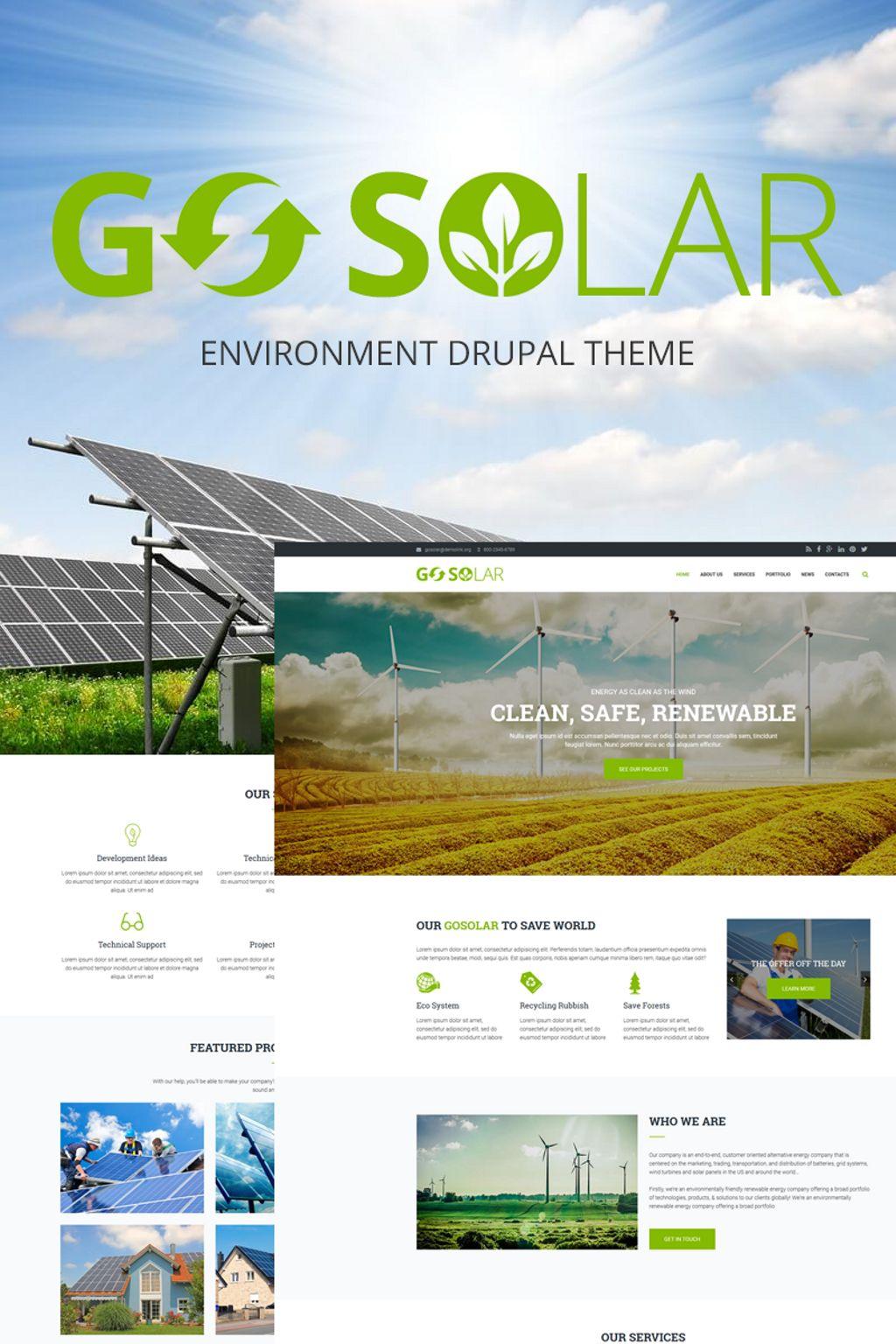 """Go Solar - Eco & Nature / Environment"" Drupal模板 #66176"