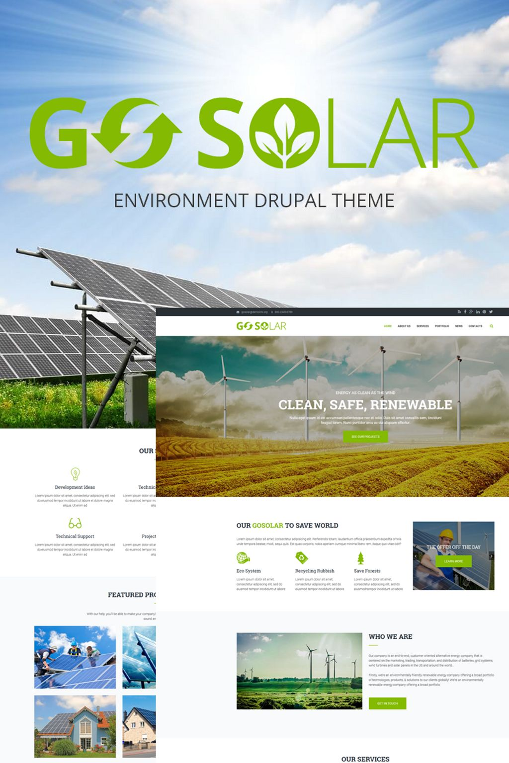 """Go Solar - Eco & Nature / Environment"" - Drupal шаблон №66176"