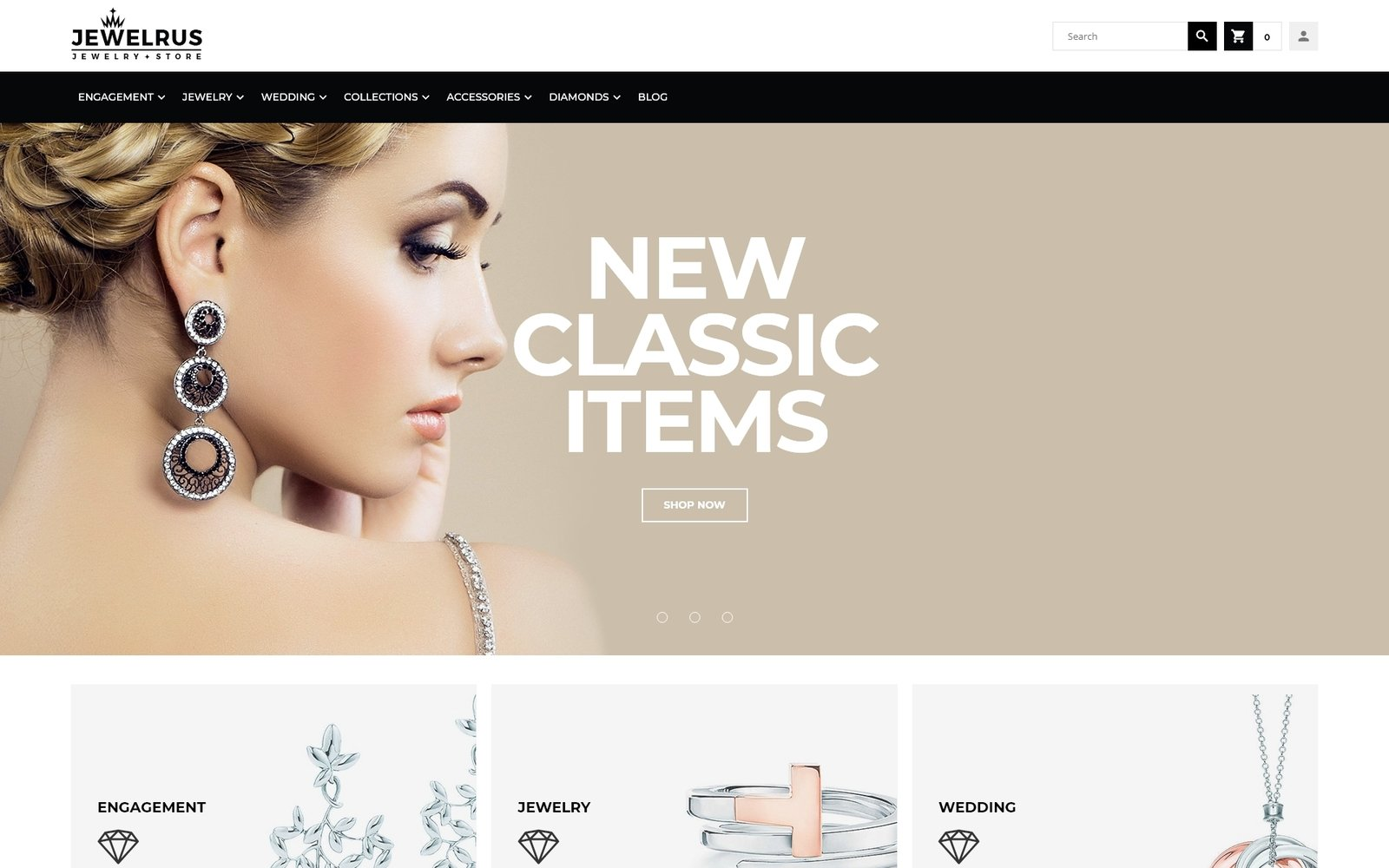 """Jewelrus - Jewelry Store"" 响应式Magento模板 #66100"