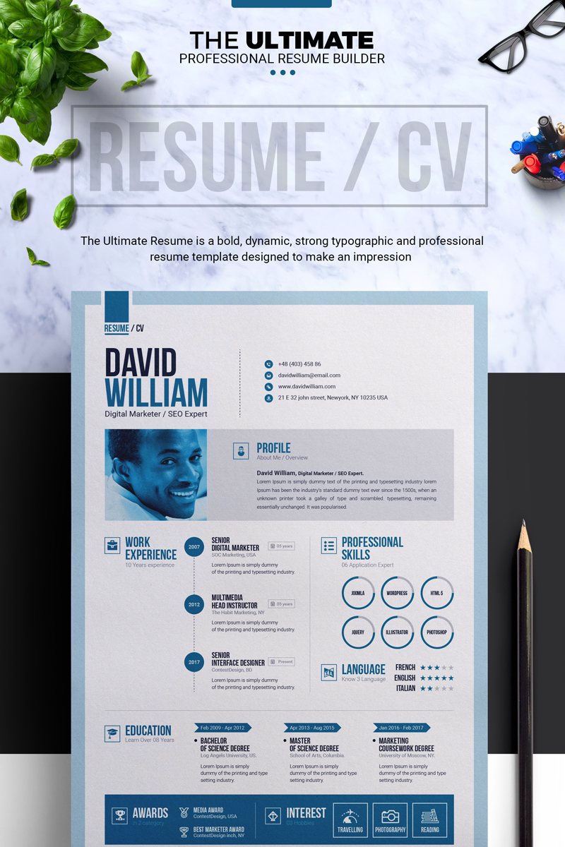 Job  Cv Builder With Ms Word Resume Template