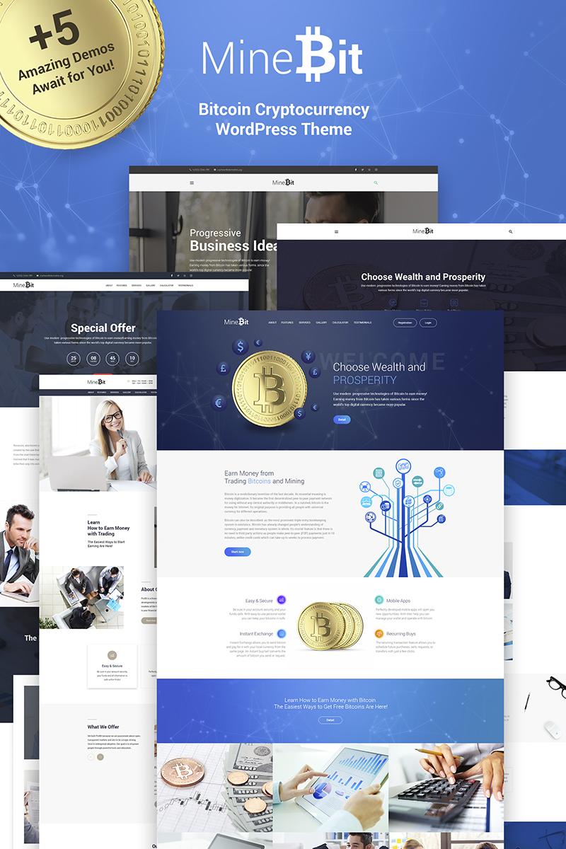 MineBit - Bitcoin Cryptocurrency WordPress Theme