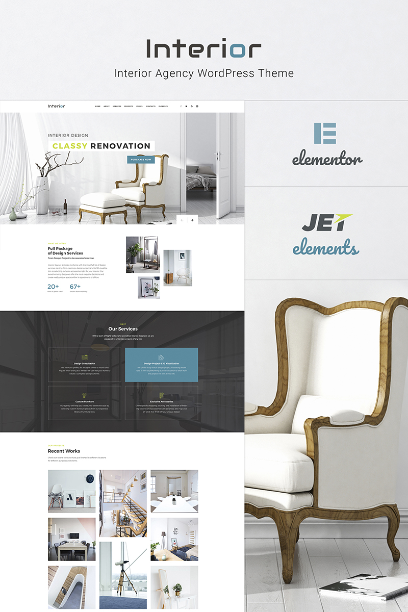 Responsywny motyw WordPress Interior - Interior Design Company Responsive #66130