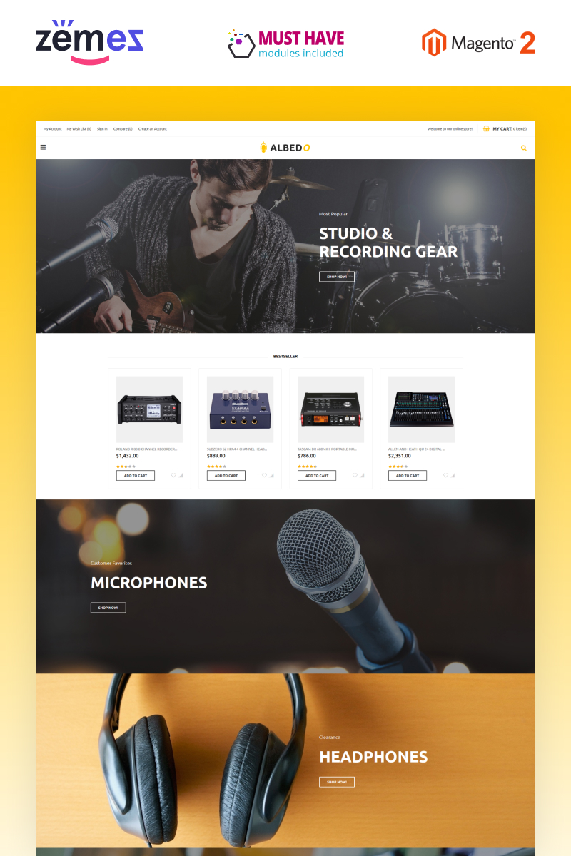 "Tema Magento ""Albedo - Audio Store Magento Template"" #66144"