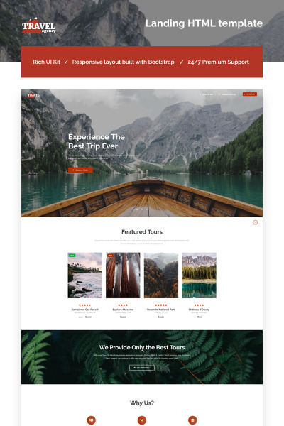 Travel Agency Responsive Landing Page Template #66123