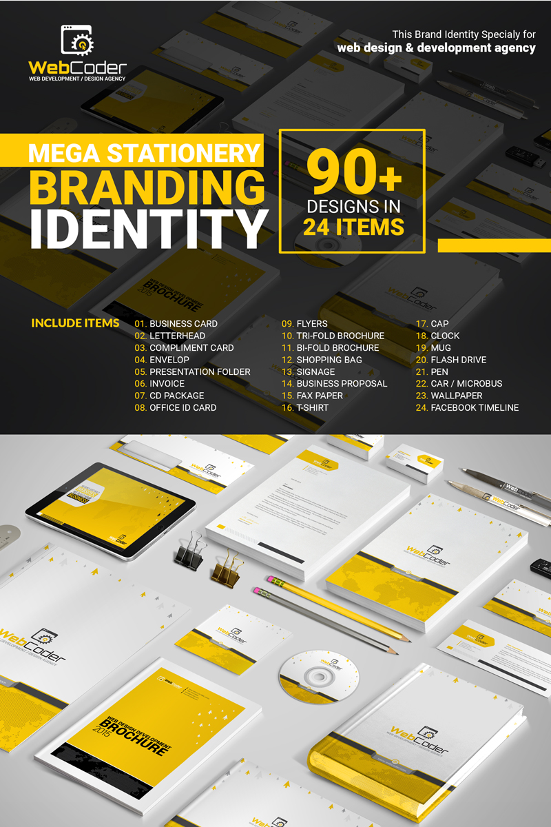 Web Design Agency Stationery Mega Branding Bundle Márkastílus sablon 66128
