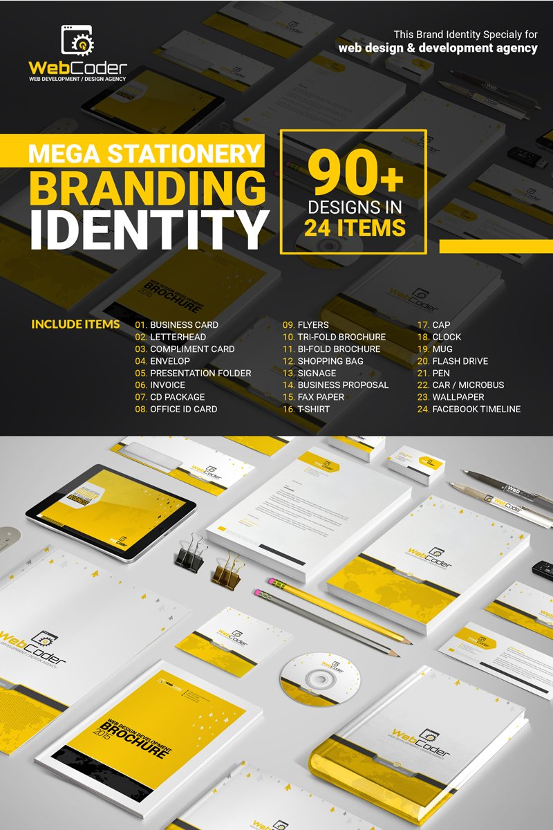"""Web Design Agency Stationery Mega Branding Bundle"" 企业设计模板 #66128"