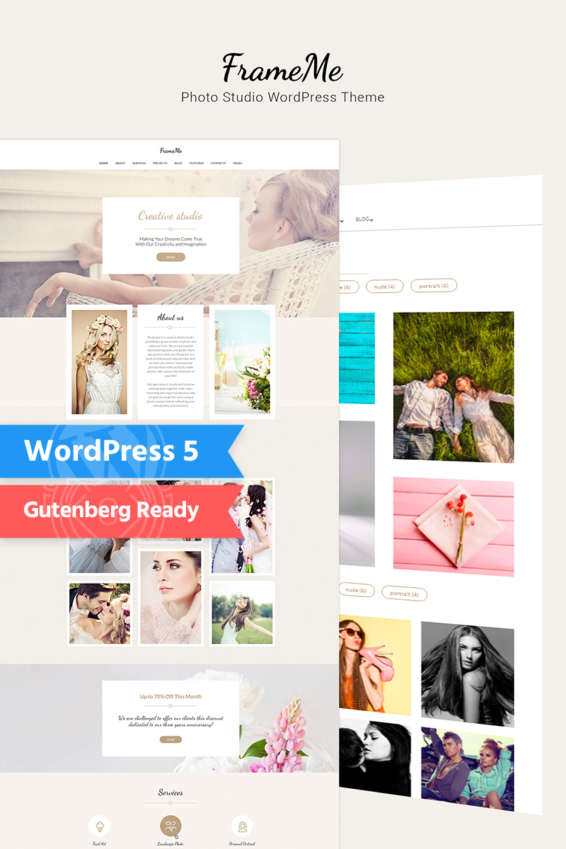 "WordPress Theme namens ""FrameMe - Photography Studio"" #66179"