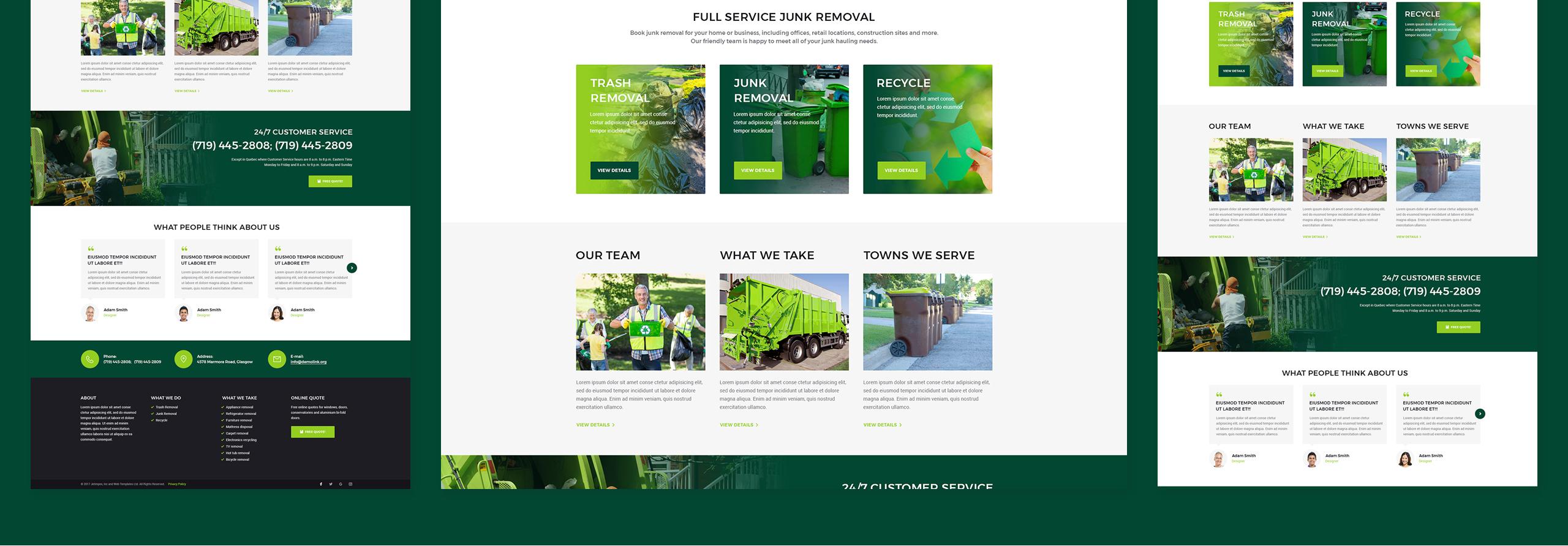 Website Design Template 66224 - junk rubbish waste dumpster trash service pickup responsive premium seo html testimonials woocommerce promotion blog
