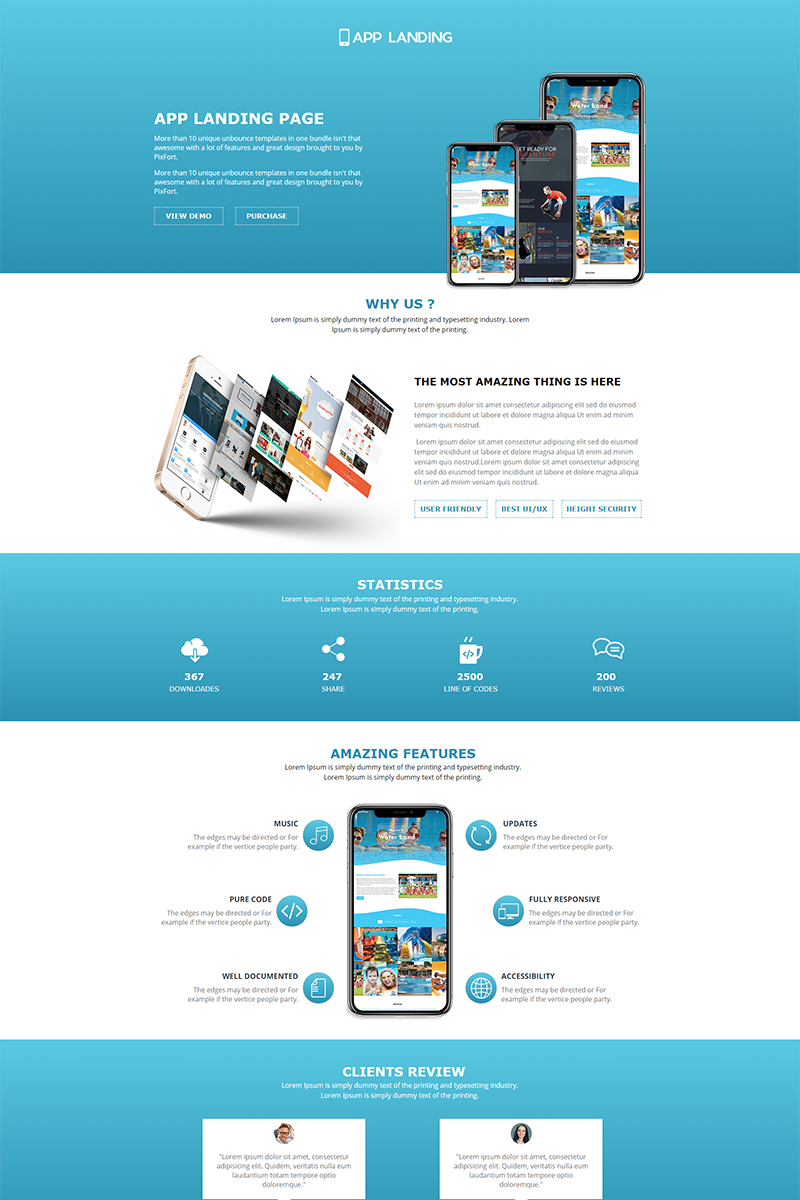 Website Template 66261 App Landing Page Custom Website Template App