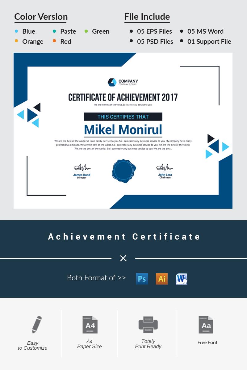Achievement Certificate Template - screenshot