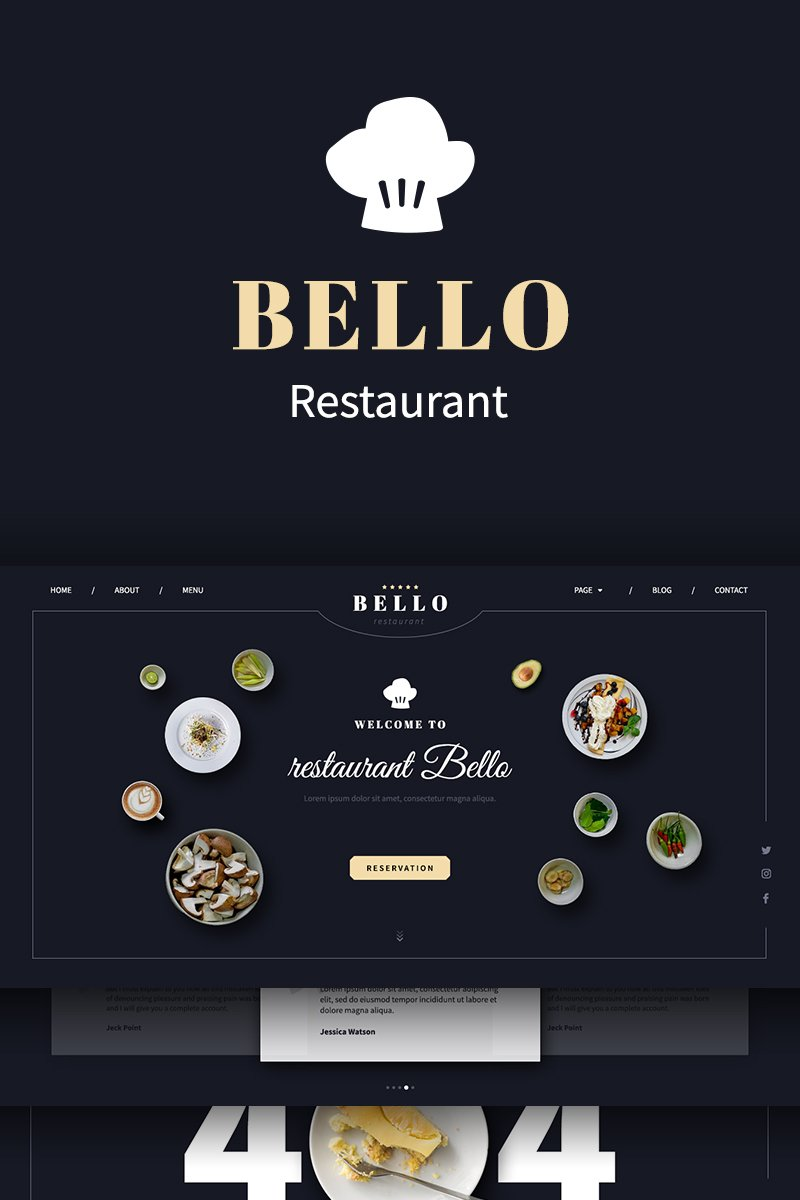 Bello restaurant PSD Template