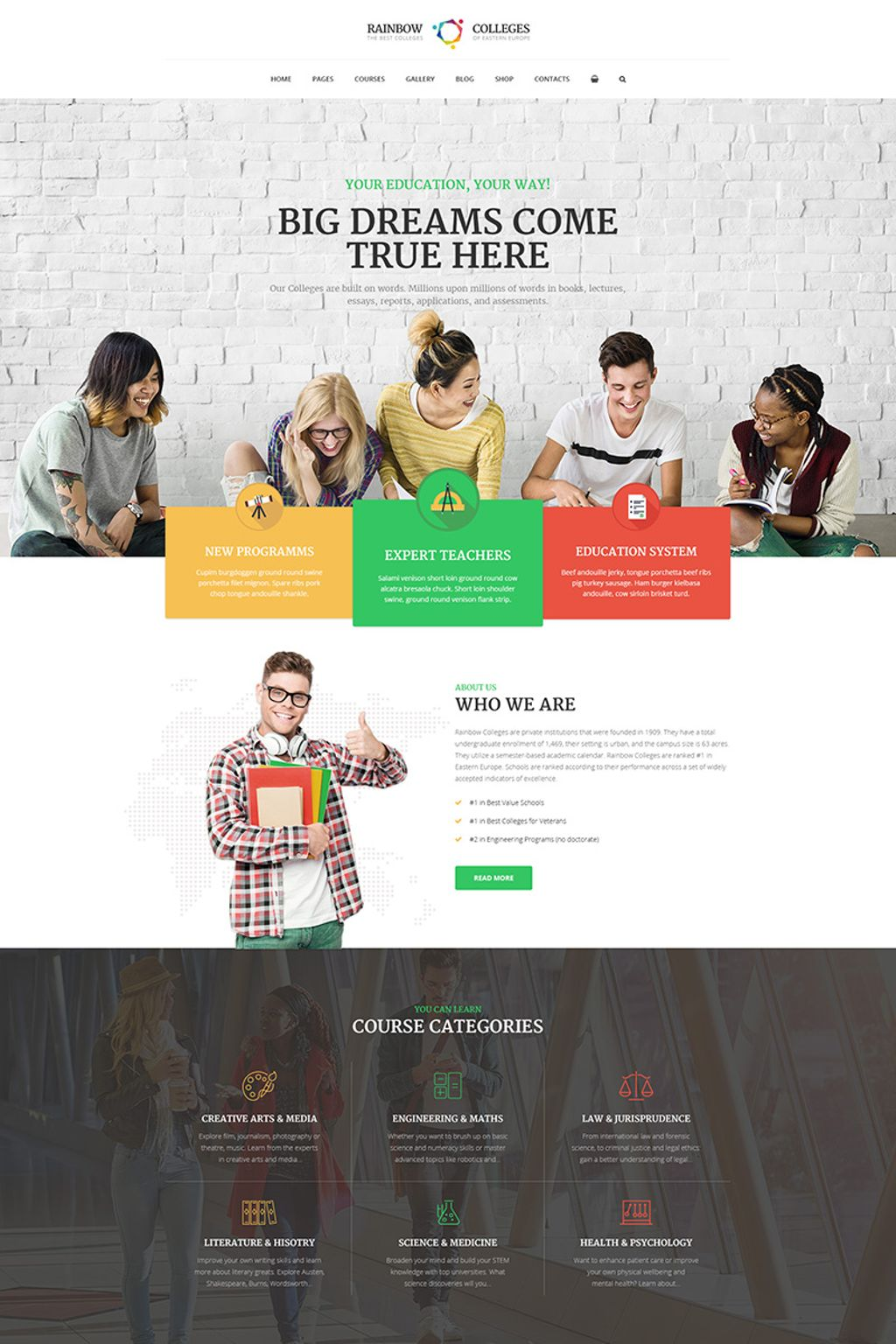 Bootstrap Rainbow Colleges - E-Course Wordpress #66265
