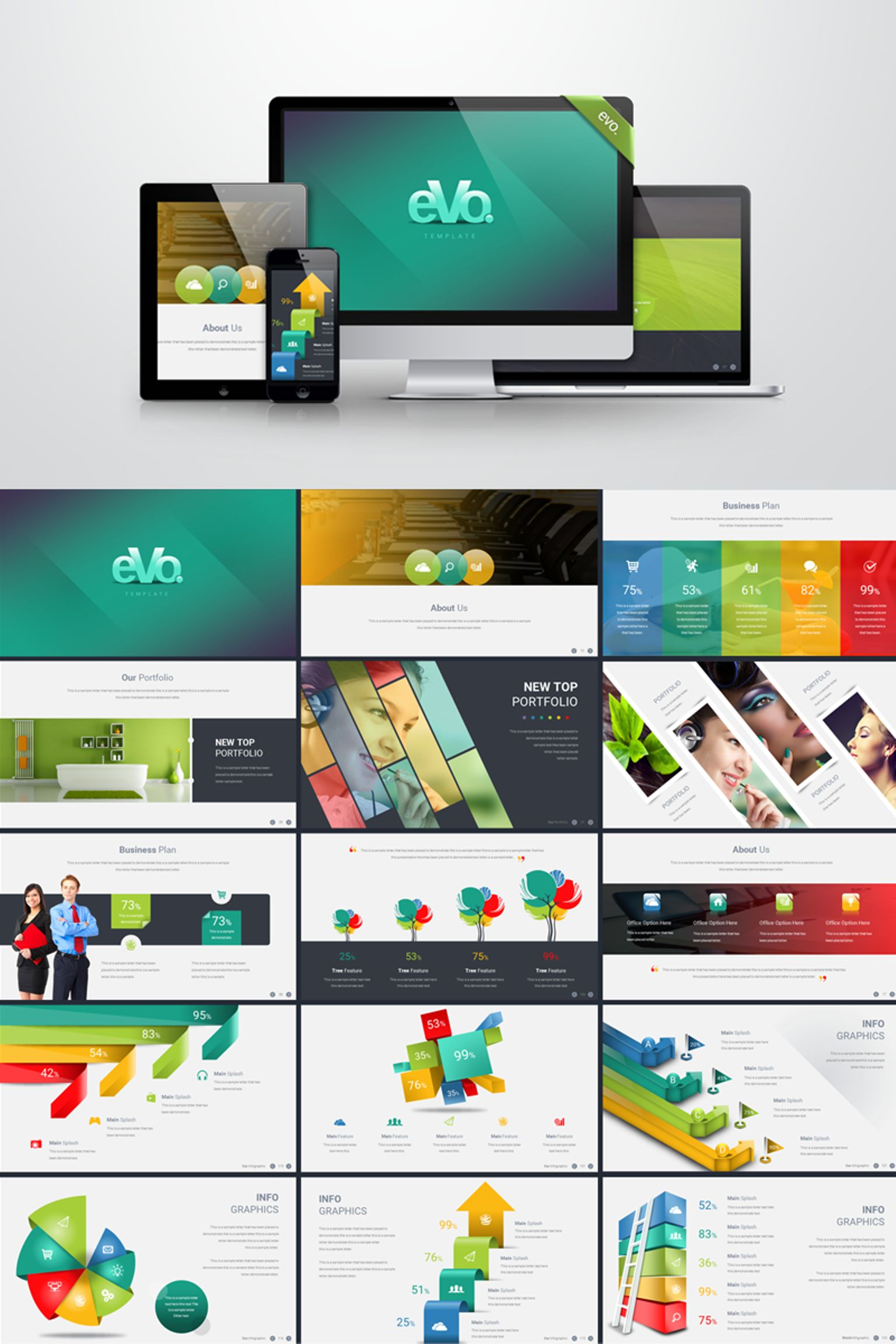 business plan with 3d infographics powerpoint template 66204