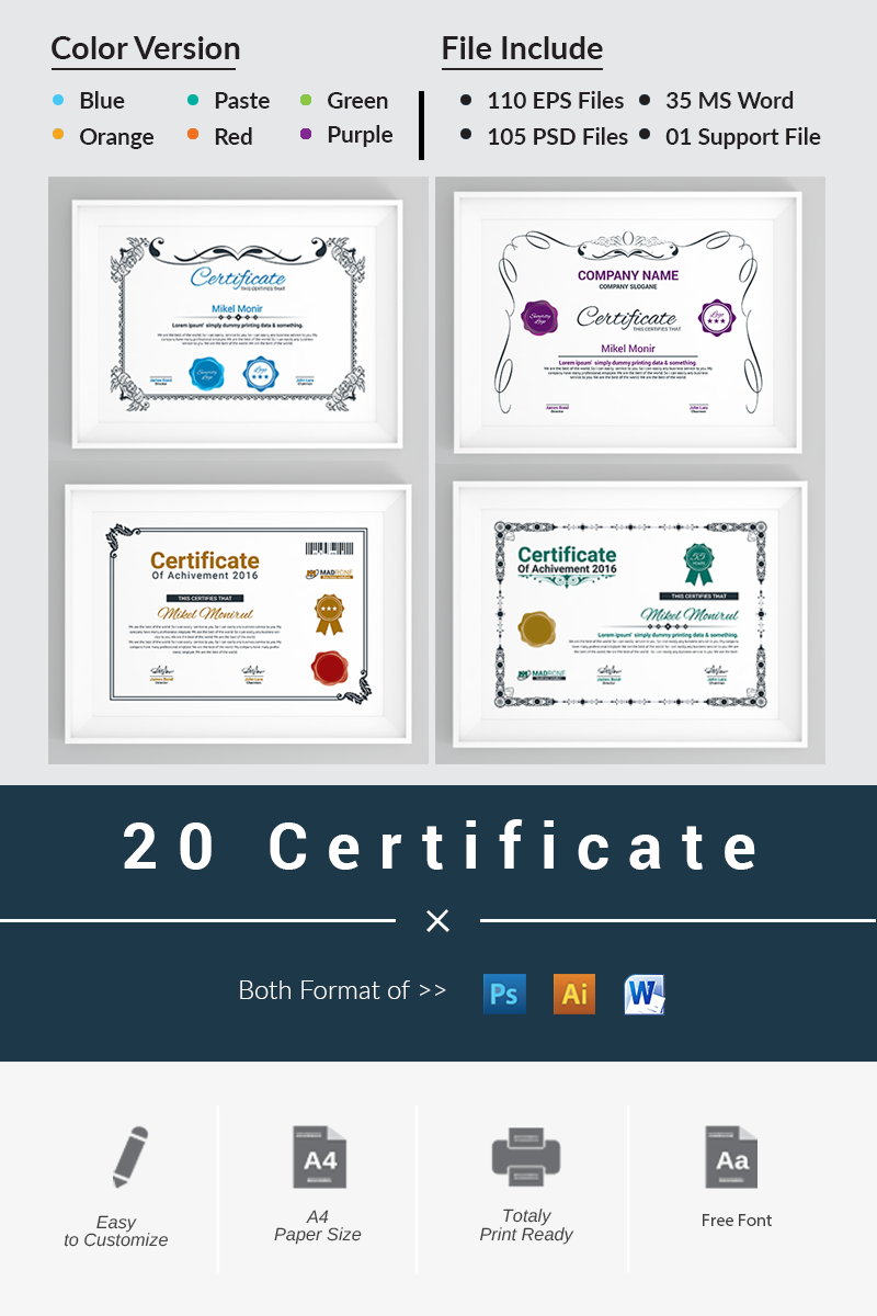 20 Certificate Certificate Template - screenshot