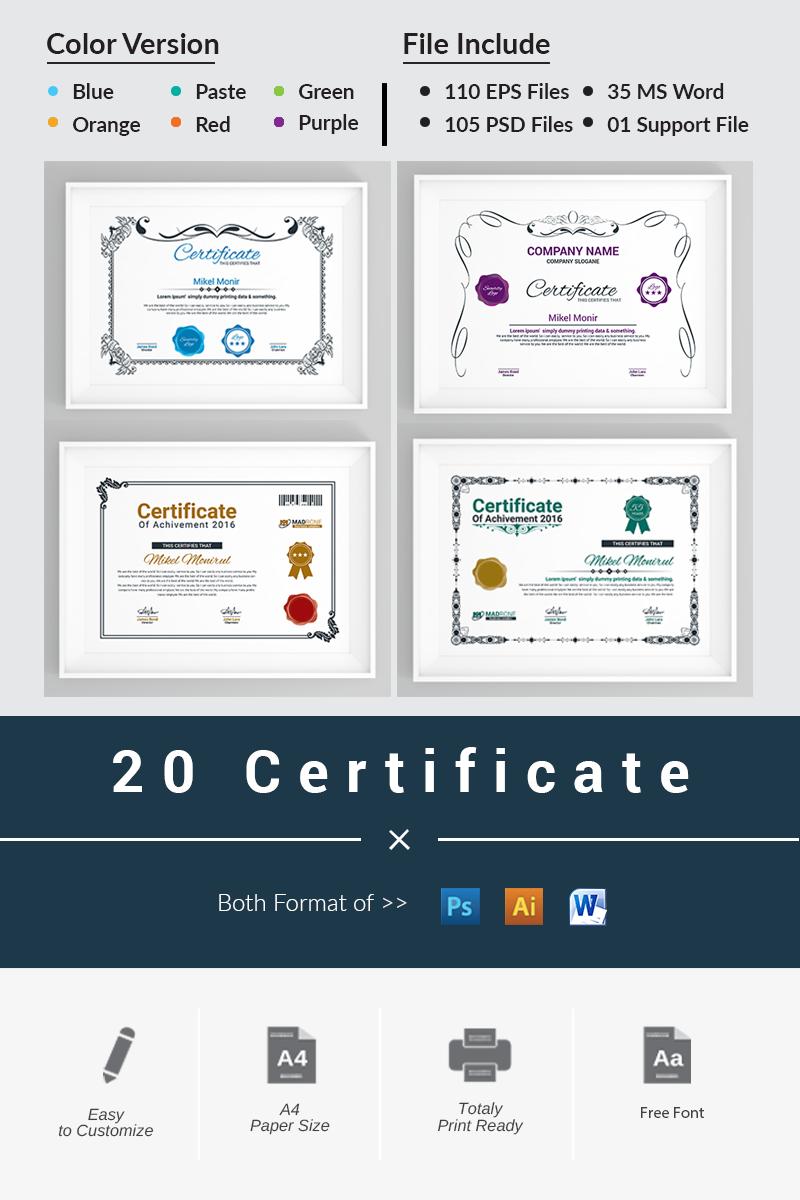 """""""20 Certificate"""" modèle de certificat  #66237"""