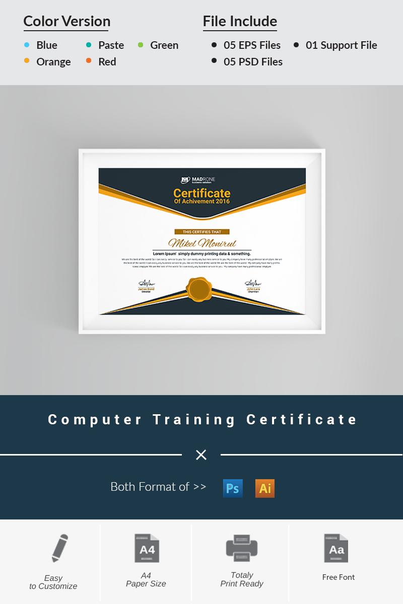 """""""Computer Training"""" modèle de certificat  #66277"""