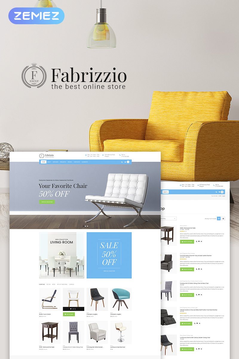 """Fabrizzio - Furniture Store"" 响应式WooCommerce模板 #66222"