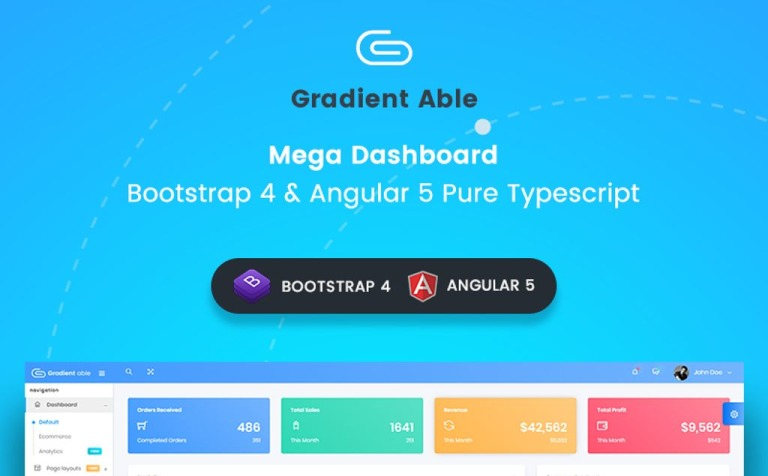 Gradient Able Bootstrap 4 & Angular 5 Dashboard Admin Template #66231