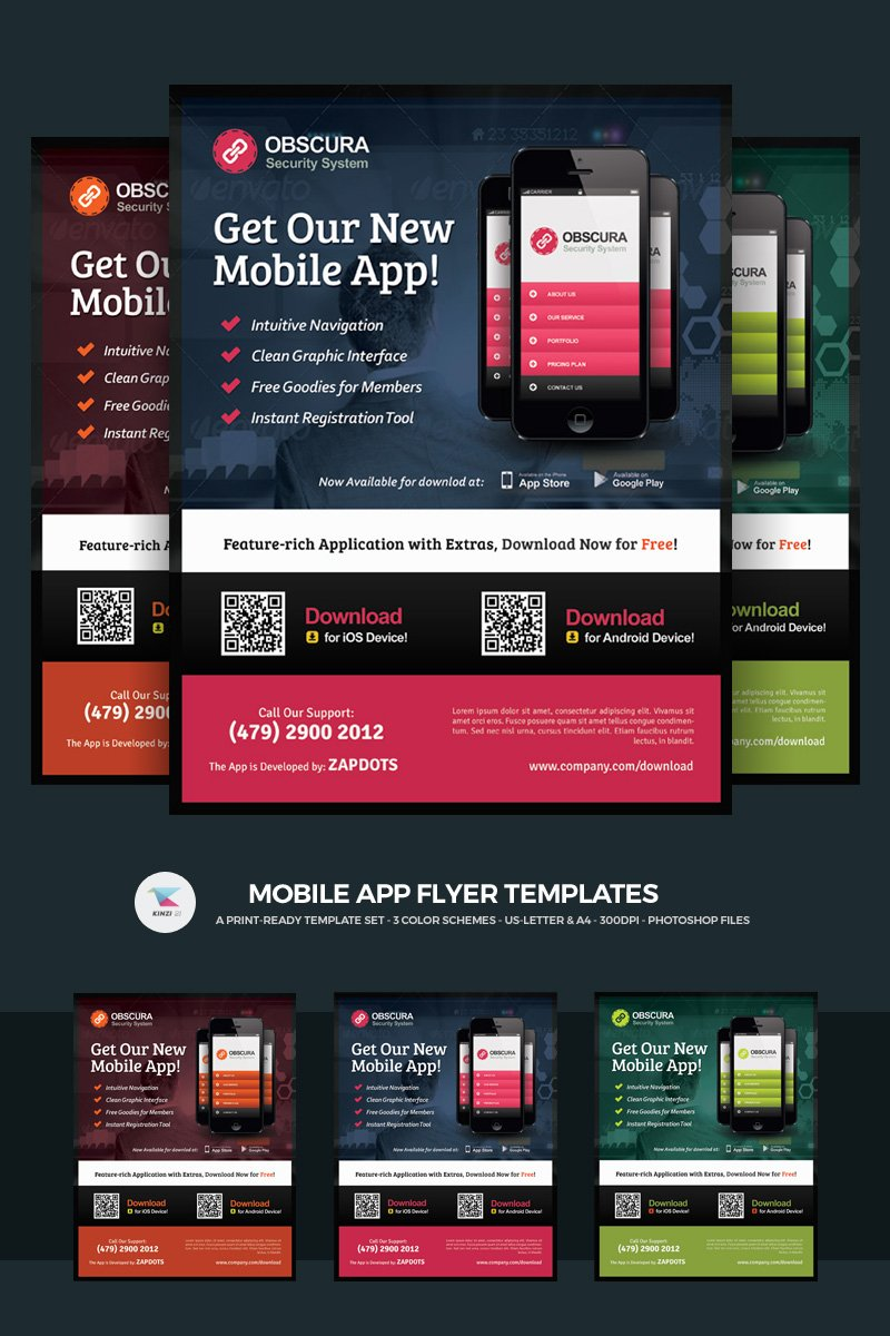 """Mobile App Flyer"" PSD Template №66250"