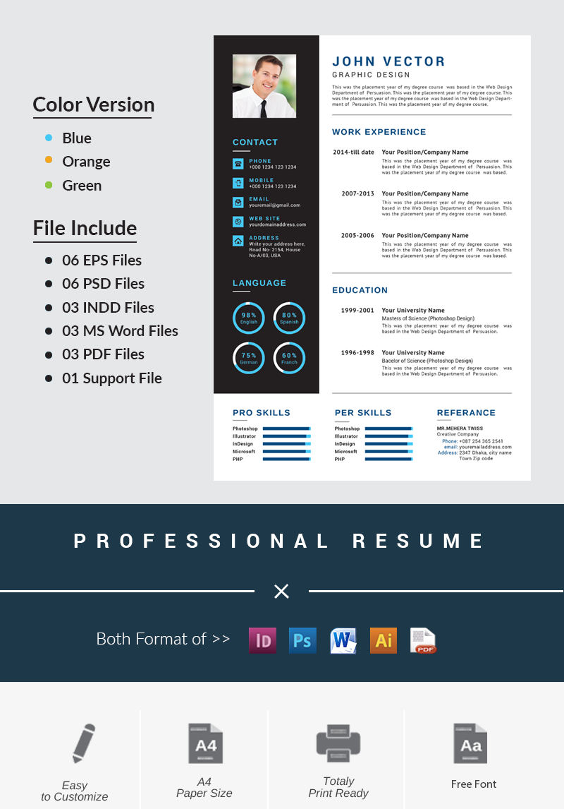 modern  creative resume template 66202