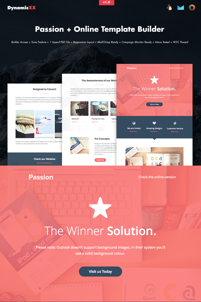 """""""Passion HTML Email + Online Builder"""" Nieuwsbrief Template №66236"""