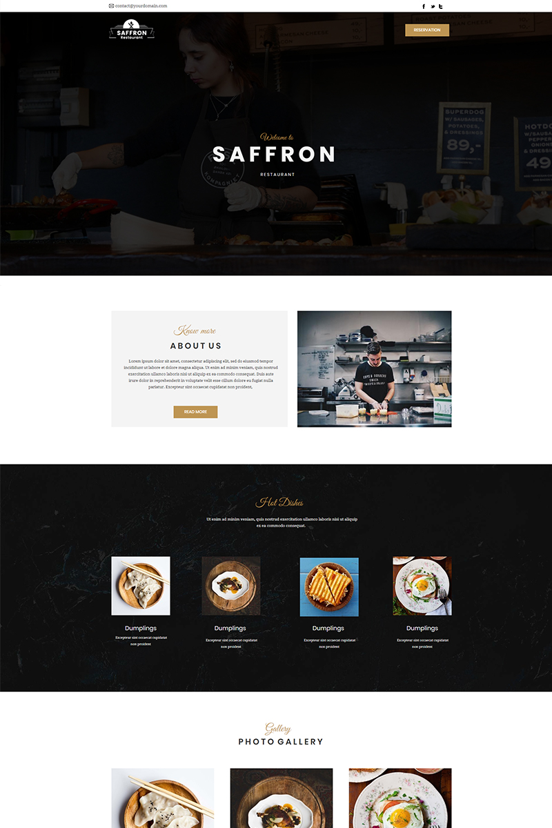 """""""Saffron - Restaurant"""" 响应式Unbounce模板 #66289 - 截图"""