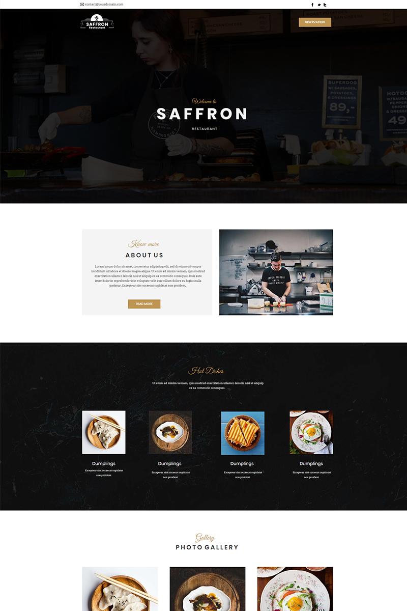 """Template Unbounce Responsive #66289 """"Saffron - Restaurant"""""""