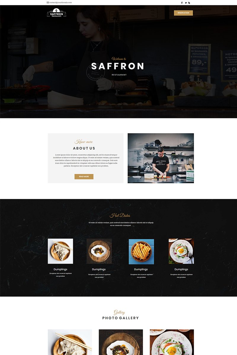 """Unbounce Template namens """"Saffron - Restaurant"""" #66289"""
